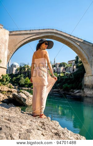Woman tourist in Mostar city