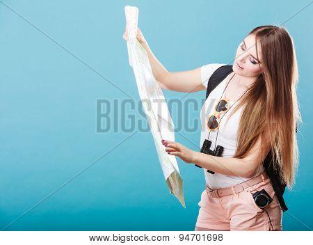 Tourist Woman Sunglasses Read Map On Blue