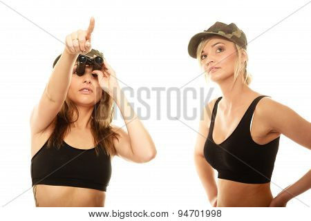 Two Women In Military Clothes With Binoculars Army Girls