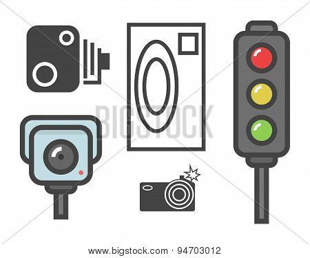 vector flat design illustration of road speed camera signs and traffic lights