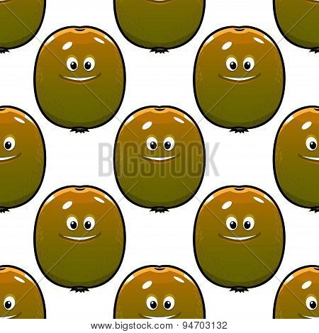 Cartoon kiwi fruits seamless pattern
