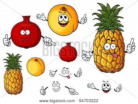 Fresh peach, pineapple and pomegranate fruits
