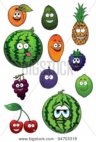 Fresh happy cartoon fruits characters