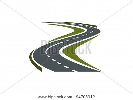 Winding paved road or highway icon