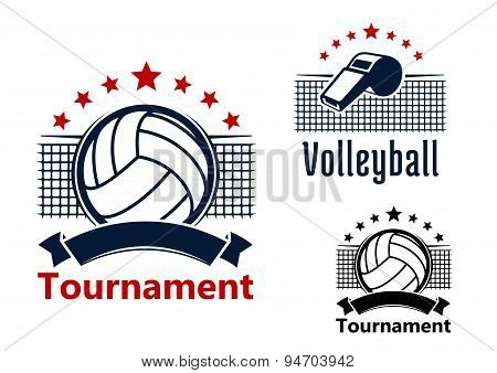 Volleyball emblems with balls, whistle and nets