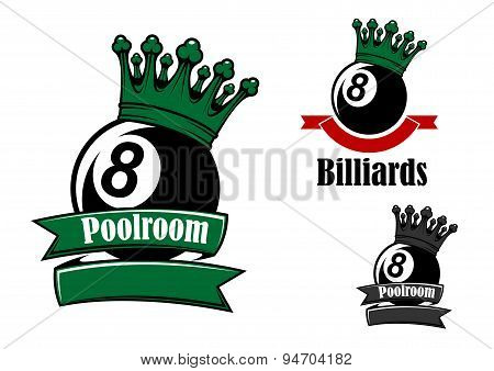 Crowned black billiards or pool ball