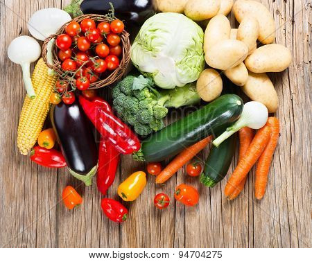 Pile Of Organic Vegetables, View From Above