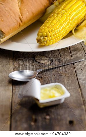 Corn with Bread and Butter for breakfast meal