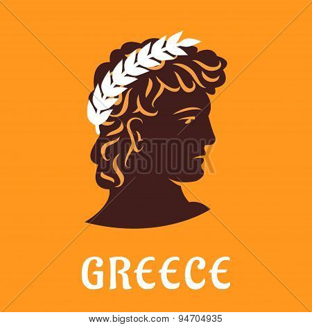 Ancient greek athlete in winner olive wreath