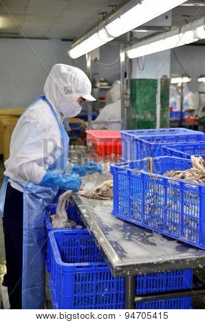 Ho Chi Minh City, Vietnam - October 3, 2011: Workers Are Cutting Raw Fresh Materials In A Seafood Fa