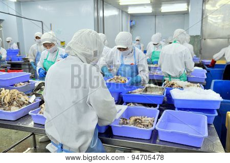 Ho Chi Minh City, Vietnam - October 3, 2011: Workers Are Working Hard In A Seafood Factory In Ho Chi