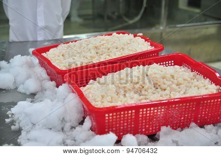 Vung Tau, Vietnam - December 9, 2014: Peeled Shrimps Are Put In Baskets Waiting For Being Frozen For