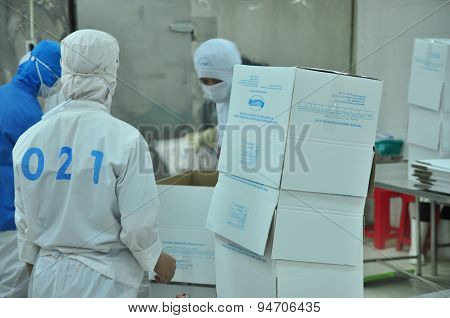 Vung Tau, Vietnam - December 9, 2014: Workers Are Packaging Product For Export In A Seafood Factory