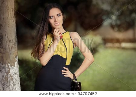 Elegant Woman her Purse and Keys