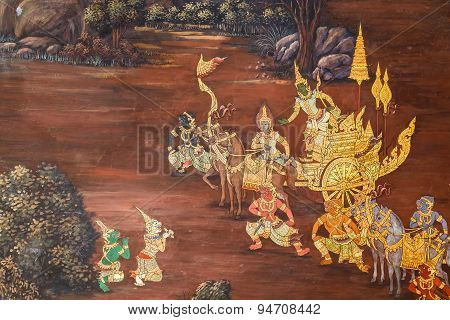 Mural Paintings at Wat Phra Kaew in Bangkok, Thailand