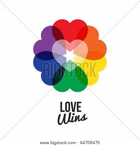 circle shape rainbow six color heart logo with love wins sign
