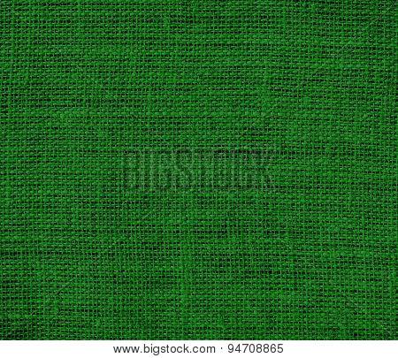Deep green burlap texture background
