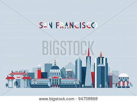 San Francisco United States city skyline flat