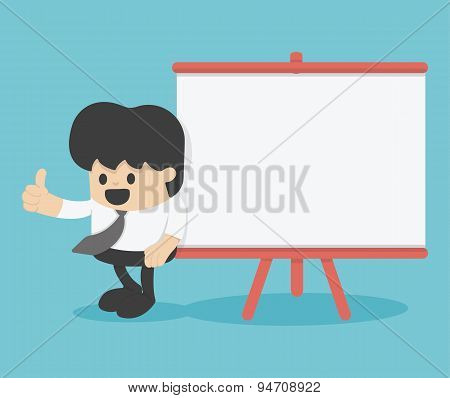 Cartoon Businessman With Thumb Up Leaning Against Blank Billboard