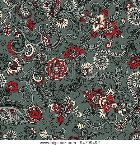 vector seamless gray and red floral pattern