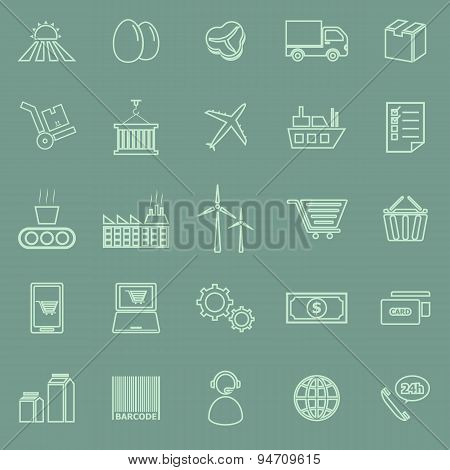 Supply Chain Line Icons On Green Background