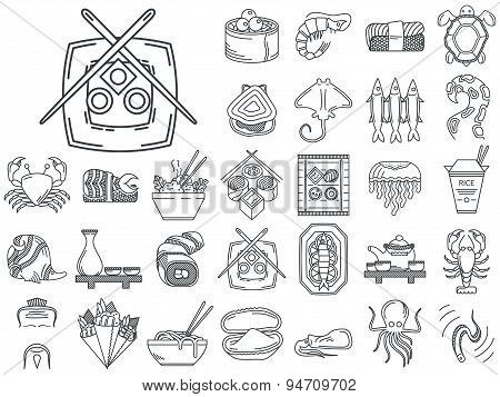 Line vector icons for japanese seafood menu