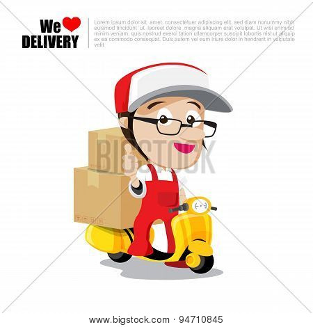 Smile Delivery Man On Scooter, Motorcycle And Package Delivery Cartoon Vector Illustration