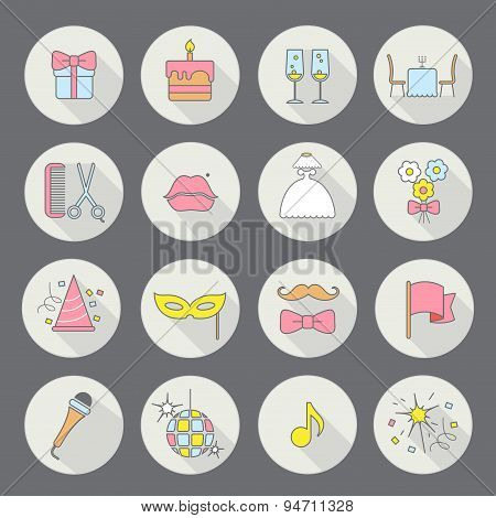 Party and Celebration icon set.Vector silhouette illustration