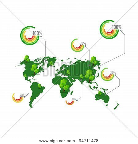 Green Map With Tree And Percentage Element For Info Graphic Vector Illustration