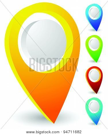 Map Markers, Map Pins, Pointer Elements. 5 Colors, Orange, Blue, Green, Red, Teal. Location, Address
