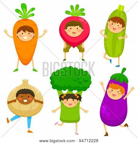 kids dressed like vegetables