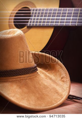 American Country Music Background With Cowboy Hat