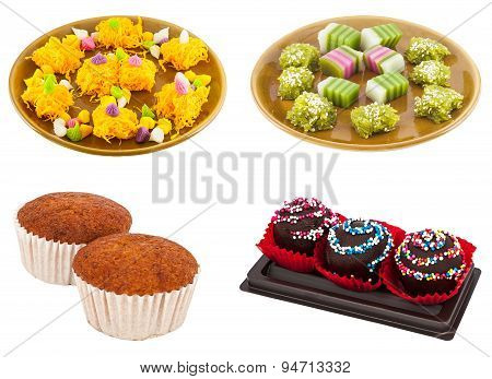 Traditional Dessert On Plate With Banana Cake And Chocolate Cake