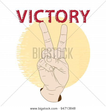 Hand showing victory gesture