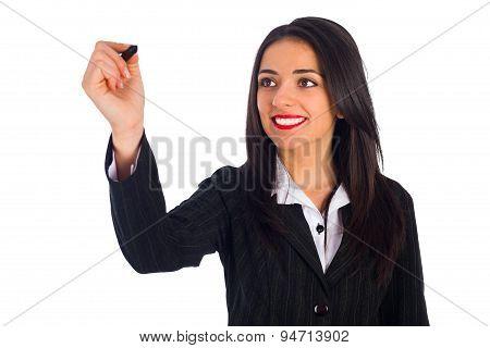 Beautiful Woman Smiling And Writing On Blank Board