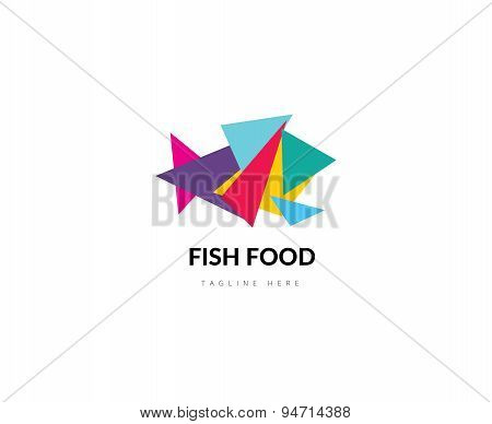 Abstract vector element. Fish food logo template. Stock illustration for design