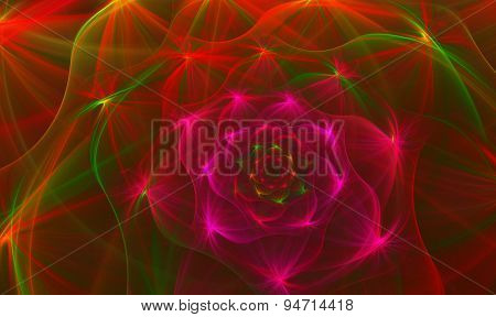 fractal background with bright flower with bunches of lines on