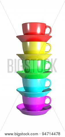 Five coffee cups stacked using rainbow colours