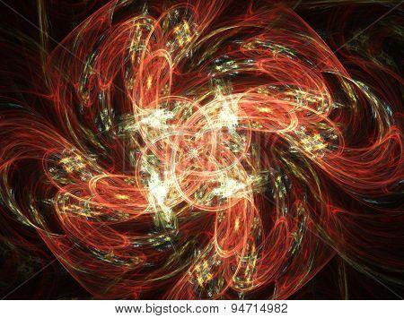 Fractal background  twisted flower on dark