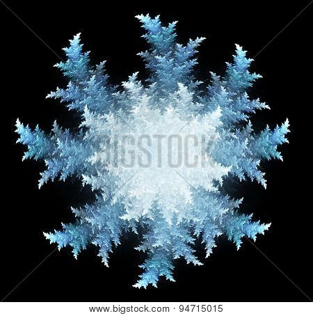 fractal three-dimensional  a snowflake on a dark background