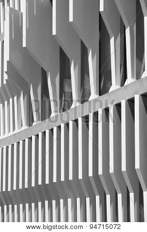 Modern Building Facade Structure Detail In Black And White