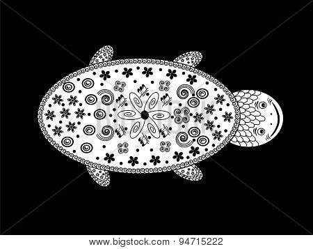 graphic black-and-white turtle ethno style