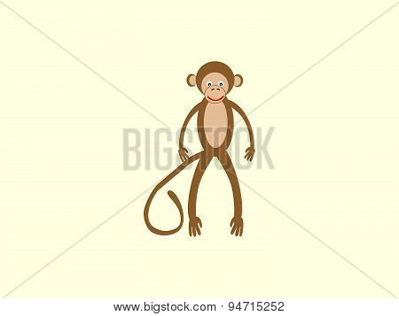 Brown monkey long tail style children