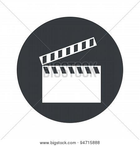 Monochrome round clapperboard icon