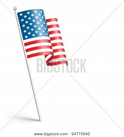 Wavy Usa National Flag Isolated On White