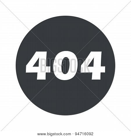 Monochrome round error 404 icon