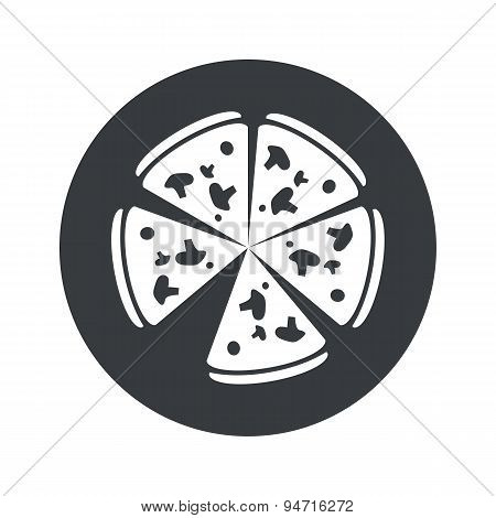 Monochrome round pizza icon