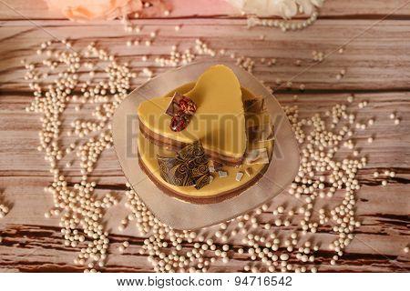 Heart Shape Caramel Wedding Cake