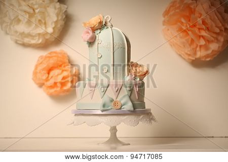 Bird Cage Green And Pink Cake