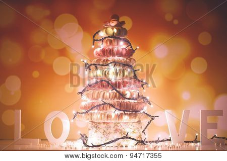 Pyramid Of Macaroons With Lights